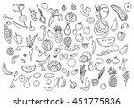 hand drawn vegetables doodle... | Shutterstock .eps vector #451775836