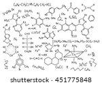 hand drawn chemistry formulas...   Shutterstock .eps vector #451775848
