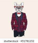 Illustration Of Dog  Hipster...