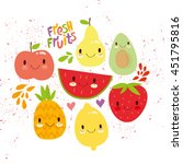 vector set of cute fruit. very... | Shutterstock .eps vector #451795816