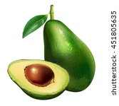 avocado on white background | Shutterstock . vector #451805635