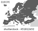 political map of europe in gray ... | Shutterstock .eps vector #451812652