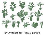 home plants silhouette set | Shutterstock .eps vector #451815496