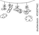 newborn baby boy hanging baby...   Shutterstock .eps vector #451837462