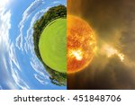 little planet with green grass... | Shutterstock . vector #451848706