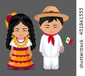mexicans in national dress with ... | Shutterstock .eps vector #451861555