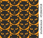 seamless pattern with black cats | Shutterstock .eps vector #451863418