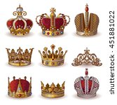 royal crowns collection of gold ... | Shutterstock .eps vector #451881022