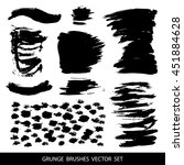 set of black paint  ink brush... | Shutterstock .eps vector #451884628