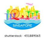 beautiful singapore travel... | Shutterstock .eps vector #451889065