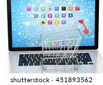 shopping cart on laptop. 3d... | Shutterstock . vector #451893562