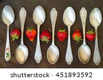 Spoon With Strawberries On A...