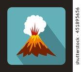 volcano erupting icon in flat... | Shutterstock .eps vector #451895656