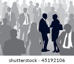 Crowd of people walking on a street and couple selected. - stock vector