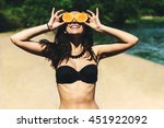 young beautiful funny summer... | Shutterstock . vector #451922092