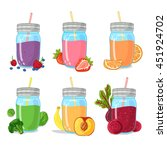 set smoothie from fruits  herb  ... | Shutterstock .eps vector #451924702