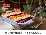 Stock photo traditional russian salad herring under a fur coat layered salad with herring and vegetables 451933072