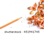 pencil and shaving on white... | Shutterstock . vector #451941745