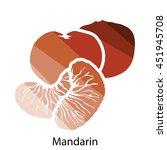 mandarin icon. flat color...