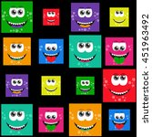 square colorful smiles with... | Shutterstock .eps vector #451963492