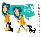 girl in a raincoat | Shutterstock .eps vector #451965196