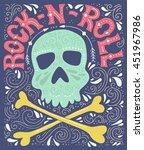 skull  bones and rock n roll  ... | Shutterstock .eps vector #451967986