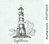 hand drawn lighthouse with sea... | Shutterstock .eps vector #451972015