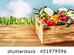 wooden crate with various... | Shutterstock . vector #451979596