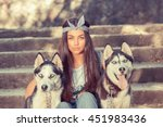 Pretty Girl And Her Pets. Swag...