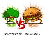 broccoli vs hamburger colored   Shutterstock .eps vector #451985512