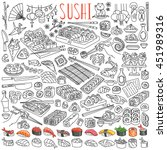sushi and rolls set. japanese... | Shutterstock .eps vector #451989316