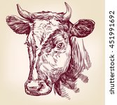 cow hand drawn vector... | Shutterstock .eps vector #451991692