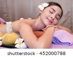 asian woman getting thai herbal ... | Shutterstock . vector #452000788