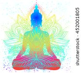 sitting buddha with beautifully ... | Shutterstock .eps vector #452001805