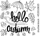 hello autumn. lettering with... | Shutterstock .eps vector #452010835