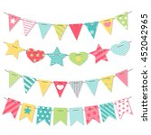bunting and garland set. cute... | Shutterstock .eps vector #452042965