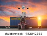 cargo ship loading containers... | Shutterstock . vector #452042986