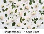 pattern of light pink roses and ... | Shutterstock . vector #452056525