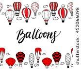 textured doodle balloons... | Shutterstock .eps vector #452066098