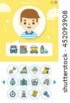 icon set camping vector | Shutterstock .eps vector #452093908