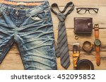 clothing for men on the wooden... | Shutterstock . vector #452095852
