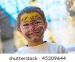 cheerful boy with makeup on his ... | Shutterstock . vector #45209644