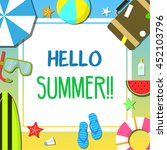 summer beach and holiday icon... | Shutterstock .eps vector #452103796