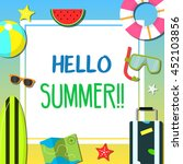 summer beach and holiday icon... | Shutterstock .eps vector #452103856