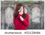 young girl holding her nose... | Shutterstock . vector #452128486