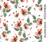 watercolor pattern with poppy... | Shutterstock . vector #452144836
