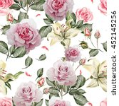 pattern with watercolor... | Shutterstock . vector #452145256