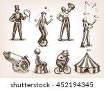 retro circus performance set... | Shutterstock . vector #452194345