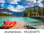 brilliant red kayaks dry upside ... | Shutterstock . vector #452201875