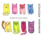 watercolor doodle cat... | Shutterstock . vector #452214112
